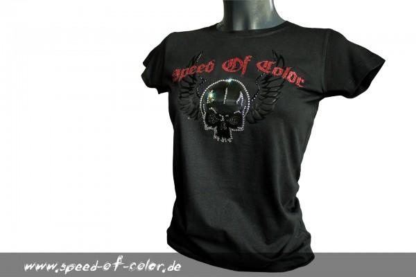 SOC girly Shirt Swarovski-skull